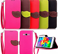 Leather Pouch Fashion Leaf With Card Wallet Case Cover For Samsung Galaxy Grand Prime G530 G530H Case