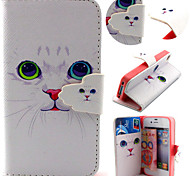 Cute Cat Pattern with Card Bag Full Body Case for iPhone 4/4S