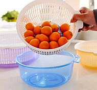 Fruit Basin Drain Basket with Lid Double Layer Vegetables Holder Home(Random Color)