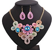 Fashion Flower Color Printing Alloy Necklace (Includes Necklace & Earrings) Jewelry Set(Pink,Black)