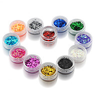 12Pcs 12Colors Mixed Color Hexagon Glitter Laser Powder Nail Art Decoration