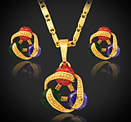 U7® Girl's Multicolor Cubic Zirconia Pendant Necklace 18K Real Gold Plated Fancy Stud Earrings Luxurious CZ Jewelry Set
