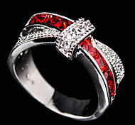 Size 6/7/8/9/10 High Quality Women Red  Sapphire Rings 10KT White Gold Filled Ring
