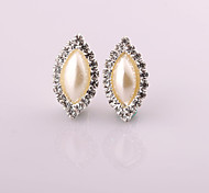 Fashion New Style Long Water Drop Pearl/Rhinestone Earring Clip Earrings Wedding/Party/Daily/Casual 2pcs