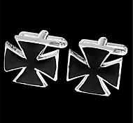 Men's Crucifix Cross Windmill Fan Blk Silver Wedding Shirt Cufflinks