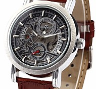 Men's Auto-Mechanical Skeleton Watch PU Leather Band Wrist Watch Cool Watch Unique Watch