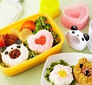 Cute Panda Flowers Hearts Shape Rice Roll Mould Cookies Biscuit Cutter DIY Set of 4