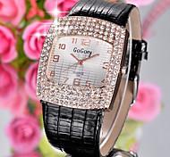 strass cristal de diamante pu pulseira de relógio de pulso de quartzo moda beleza da senhora