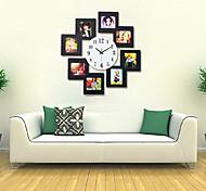 Super-sized Modern Luxurious Wall Clock w/ Photo Frame - Black (1 x AA)