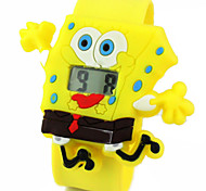 Children's Cute Cartoon Silicone Ultraman Spongebob Pattern   Lovely Digital Calendar Water Resistant  Slap Watch