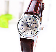 Women's Business Round Rome Number Dial PC Movement Leather Strap Fashion Life Waterproof Quartz Watch