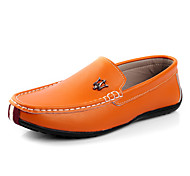 Men's Shoes Casual Leather Loafers White/Orange/Blue/Black
