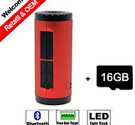 16GB TF Card and Portable Power Bank Charger Bicycle Bluetooth Speaker Hands-free Micro SD Aux LED light Sport speaker