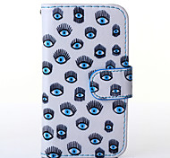 Blue Eyes Pattern PU Leather Full Body Case with Stand for Multiple Samsung Galaxy S5Mini/S4Mini/S3Mini