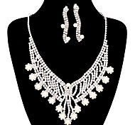 Fashion Long Drop Fully Rhinestone Silver Copper Jewelry Set 18