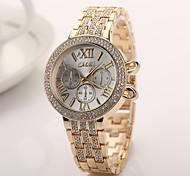 Luxury design geneva watch elegant hot sale stainless steel strap watch double row rhinestone watches women watch