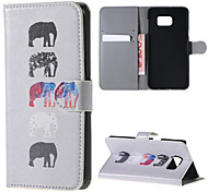 Color-changing Elephant PU Leather Full Body Case with Stand and Card Slot for for Samsung Galaxy Note 5