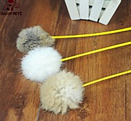 FUN OF PETS® Lovely Rabbit Hair Ball Shaped Squeaking Playing Stick for Pet Dogs Cats(Random Colour)