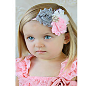 Gray And Pink Triple Baby Headband, Shabby Flower Headband Toddler And Newborn Girl, Hair Bow