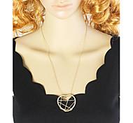 Gold Plated Long Unique Heart Pendant Necklace