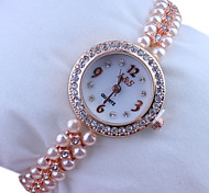 Women's Round  Dial Rose Gold Pearl Band Quartz Analog Wrist Watch Cool Watches Unique Watches