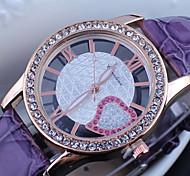 Women's Diamante Round Dial PU Band Quartz Analog Dress Watch Cool Watches Unique Watches