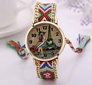 2015  Women Watches Gold Wristwatch Ladies Quartz Watches Geneva Handmade Weave Braided   Bracelet XR1250