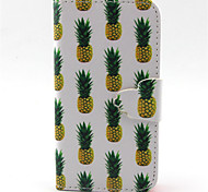 Pineapple Pattern PU Leather Phone Case For iPhone 4/4S