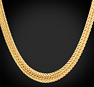 U7®Foxtail Chain Necklace 18K Real Gold Plated Vintage Chunky Necklace Fashion Jewelry for Women/Men