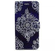 weiße Blume auf lila Muster PU-Leder Ganzkörper-Fall mit Kartenfächern und stehen für iPhone 6