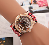 moda banda larga leopardo fêmea relógio de quartzo com diamantes das mulheres