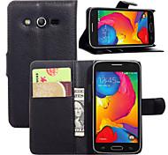 litchi alrededor paréntesis abierto cartera de tarjeta de teléfono de cuero adecuado para g386f samsung galaxy galaxy lte núcleo (color