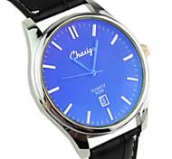 Couple's Casual Calendar Dial PU Band Blue light glass Quartz Wrist Watch
