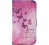 roze vlinder patroon pu lederen dubbelzijdig telefoon geval voor galaxy s5 / s6 / s6 edge / s3 mini / mini s4 / s5 mini