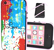 2-in-1 Colorful Love Pattern TPU Back Cover with PC Bumper Shockproof Soft Case for iPhone 5C