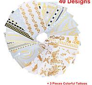 3PCS Colorful Tattoos+ 40PCS Flash Tattoo Gold Tattoo Flash Taty Metallic Tattoo Metal Tatouage Temporary Tattoo Sticker