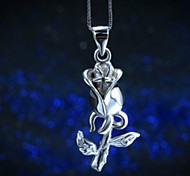 925 Sterling Silver Jewelry Rose 24 Carat Gold Silver Necklace Pendant Folk Style Valentine's Day gift