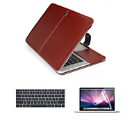 "For New Macbook 12"" Top Quality PU Leather Laptop Cace Bag with Screen Flim and Keyboard Cover"
