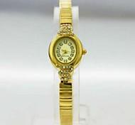 Women's Analog Copper Case Round Dial Copper Band Stone Japan Quartz Watch Women Fashion Watch Gift Watch Ladies Watch