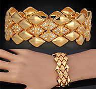 U7® Big Bracelets 18K Yellow Gold Plated Austrian SWA Rhinestone Fashion Jewelry Bangles Gift For Women/Men
