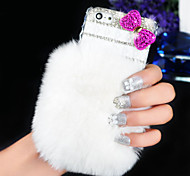 Rabbit Hair With Drill Bow Pattern Rhinestone Hard Back Case for iPhone6  (Assorted Color)