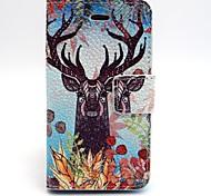 motif cerf cuir PU cas de tout le corps avec fente pour carte et Stand pour iPhone 4 / 4g