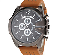 Men's Military Style Black Case Khaki Leather Band Quartz Wrist Watch