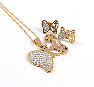 Fashion Butterfly CZ Diamonds Inlaid 316L Stainless Steel Gold Plated (Necklace&Earrings) Jewelry Sets