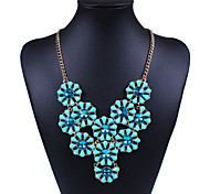 Womens Fashion Flowers Statement Necklace