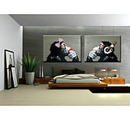 Pintados à mão Animal Pop Horizontal,Clássico Tradicional 2 Painéis Pintura a Óleo For Decoração para casa