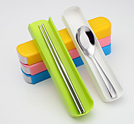 camping en plein air gigognes portables sets de coutellerie baguettes en acier inoxydable cuillère (couleur aléatoire)
