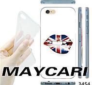 maycari®the britânico padrão lábios bandeira TPU caso de volta transparente macio para iphone 6