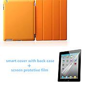 caso del sueño de auto soporte de cuero de la PU de la alta calidad con tapa trasera y protector de pantalla para el ipad 234 (colores