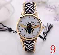 2015  Women Watches Gold Wristwatch Ladies Quartz Watches Geneva Handmade Weave Braided   Bracelet XR1252